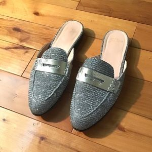 J. Crew silver Academy penny loafer mules
